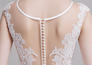 White Lace Satin Splicing Long Wedding Dress Brides