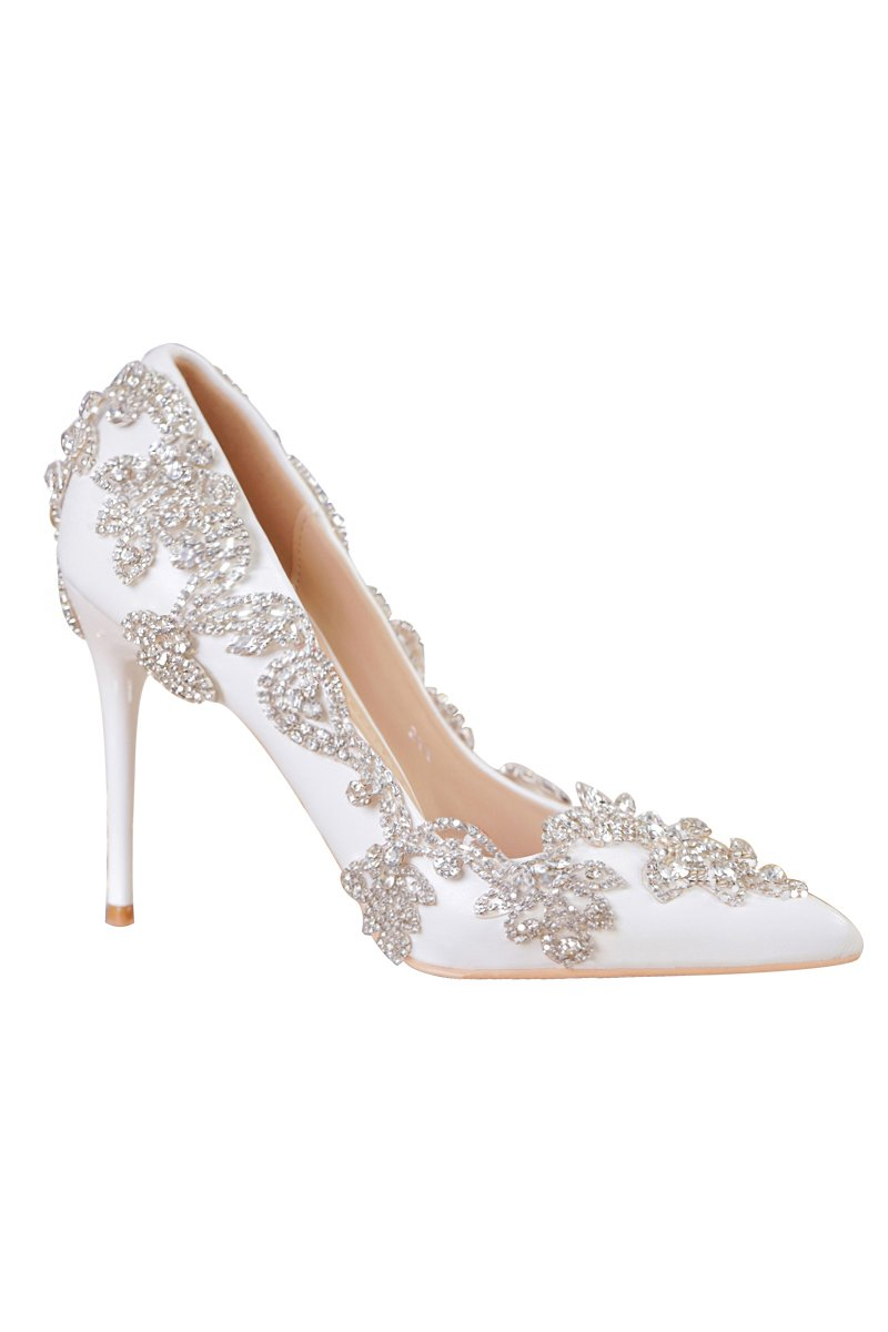 White Pointed Toe Crystal Shoes Bride Wedding Shoes Brides