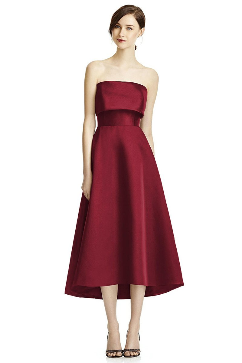 Wine Red Vintage Satin Tube Top Bride Evening Dress Brides
