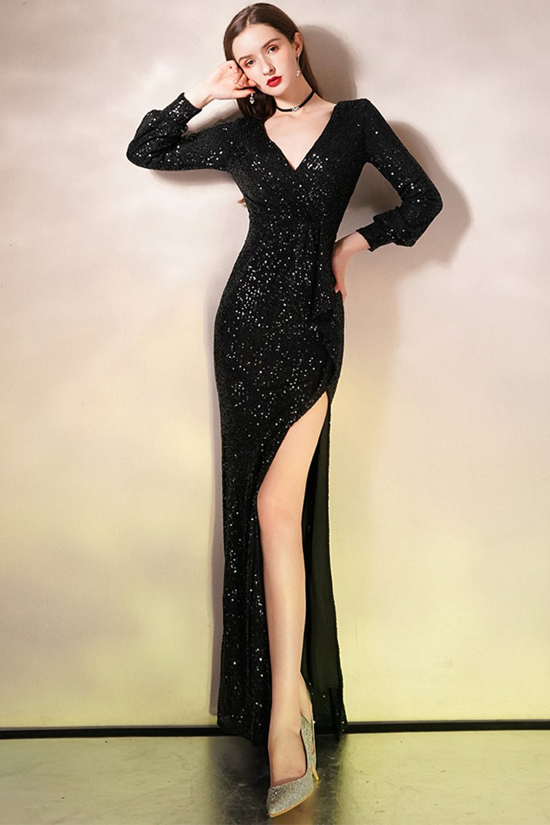 Winter Black Fishtail Sequin Long Sleeve Evening Dress Women Brides Black S
