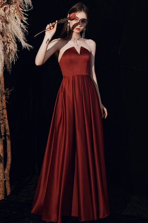 Women Simple Wine Red Evening Dress Brides