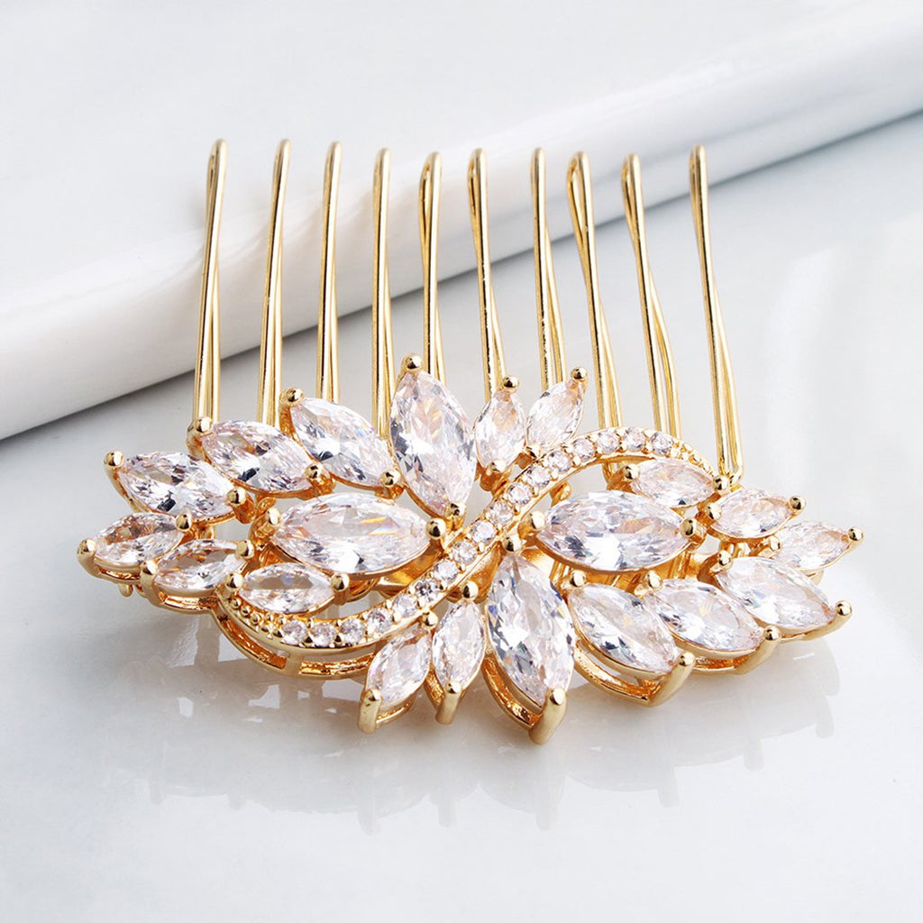 Zircon-inlaid Hair Comb Luxury Wedding Bridal Accessories Hair Combs