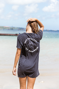 Save the ocean T-dress - Black
