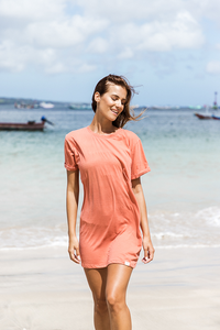 Save the ocean T-dress - Grapefruit
