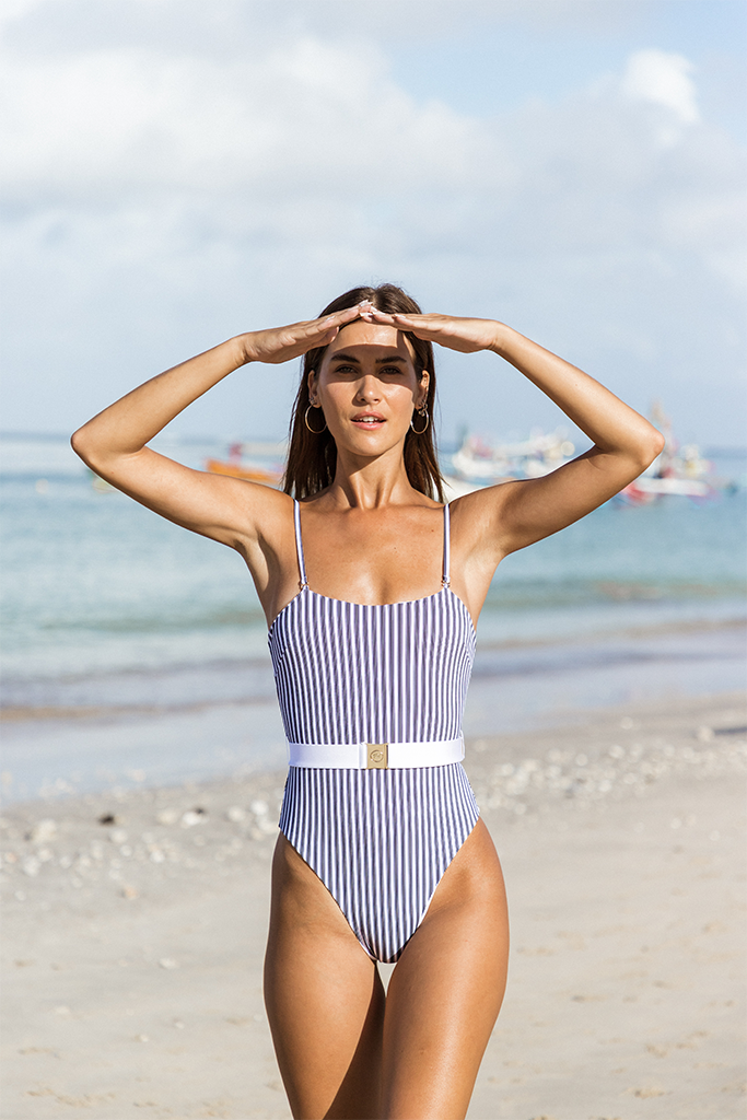 DELMARE ONE PIECE - Black and white stripes / White