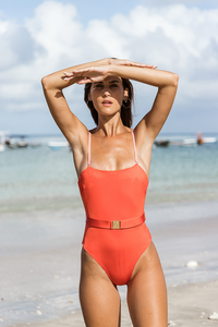 DELMARE ONE PIECE - Tigerlily stripes/Grapefruit