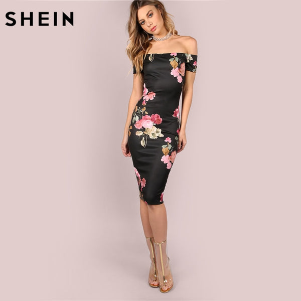 496728cd1a SHEIN Sexy Party Dresses Bodycon Off Shoulder Dress Black Bardot Neckline  Floral Bodycon Knee Length Elegant ...