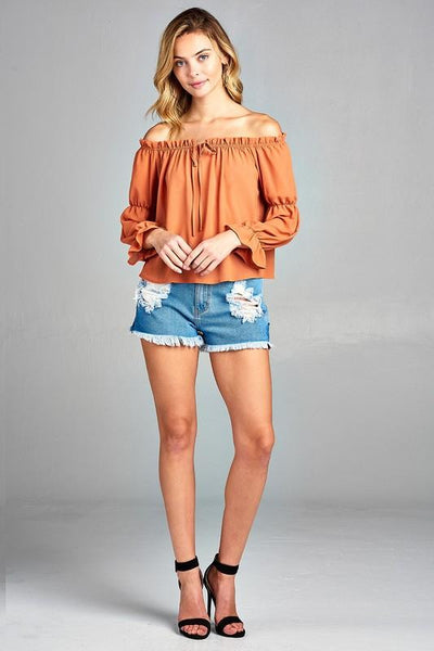 f1ff193f0724e ... Shoulder Top · Women s Puff Long Sleeve Ruffled Front Tie Off Shoulder  ...