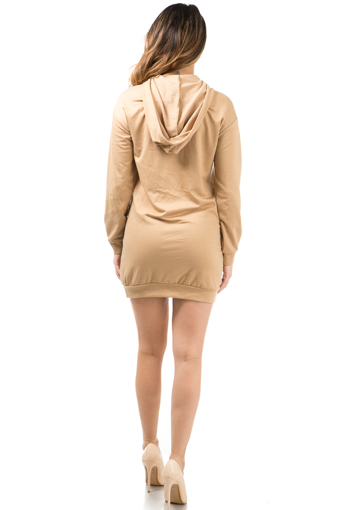 'Mocha Latte' Hoodie Mini Dress