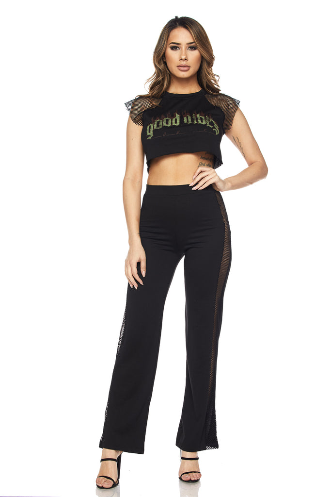 'Good Vibes' Crop Top and Pants women's clothing stores Toronto