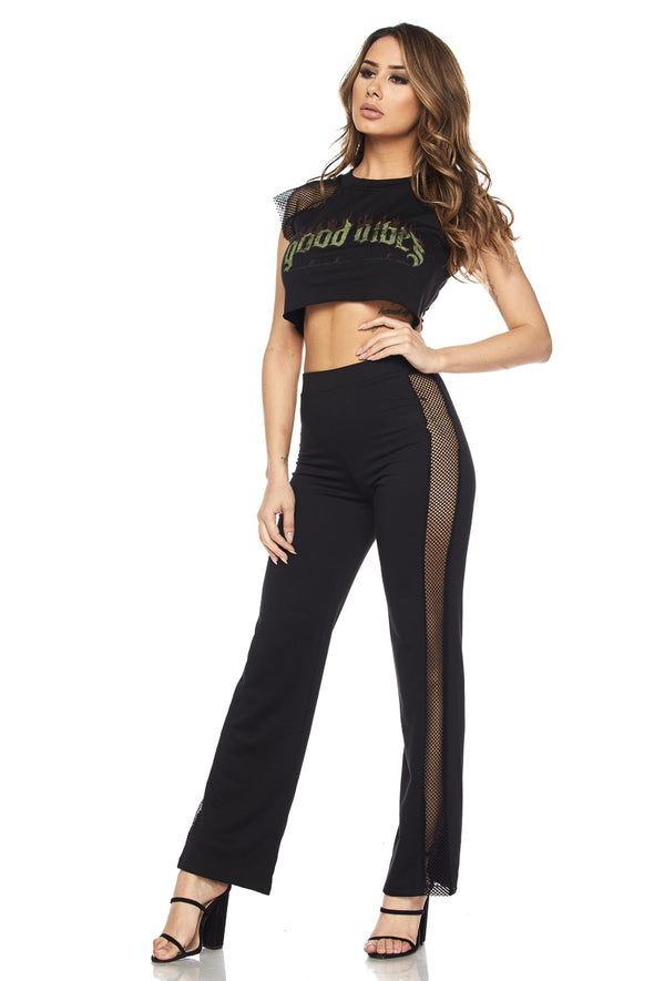 'Good Vibes' Crop Top and Pants