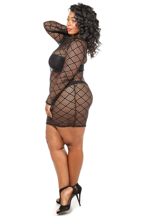 'A Girl's Best Friend' Curvy Fishnet Dress