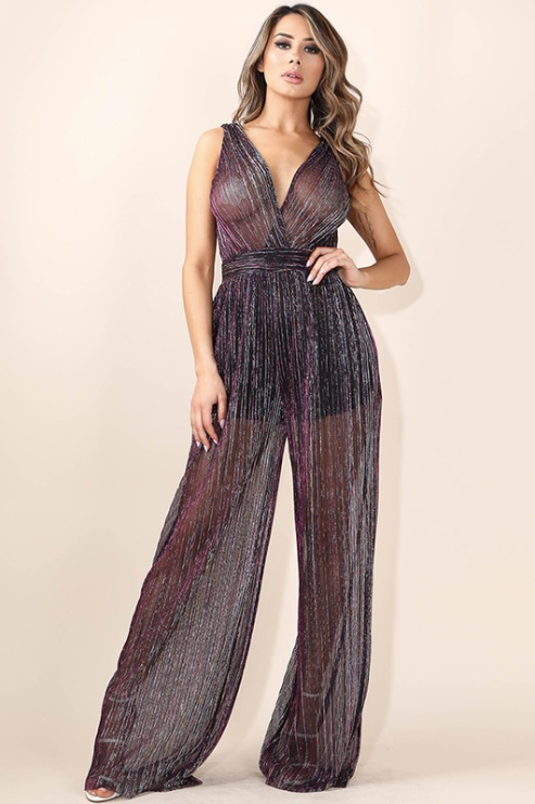 'Evelyn' Shimmer Jumpsuit