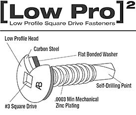 LowPro2 Square Drive Fasteners