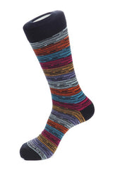 MELANGE 7 COLOR STRIPE SOCK- Black