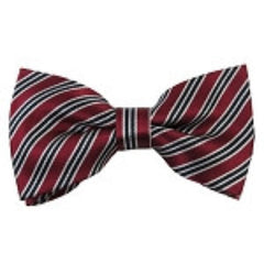 Stripe on Burgundy Bow Tie