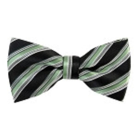 Sage Green/Black/Silver Striped Bow Tie