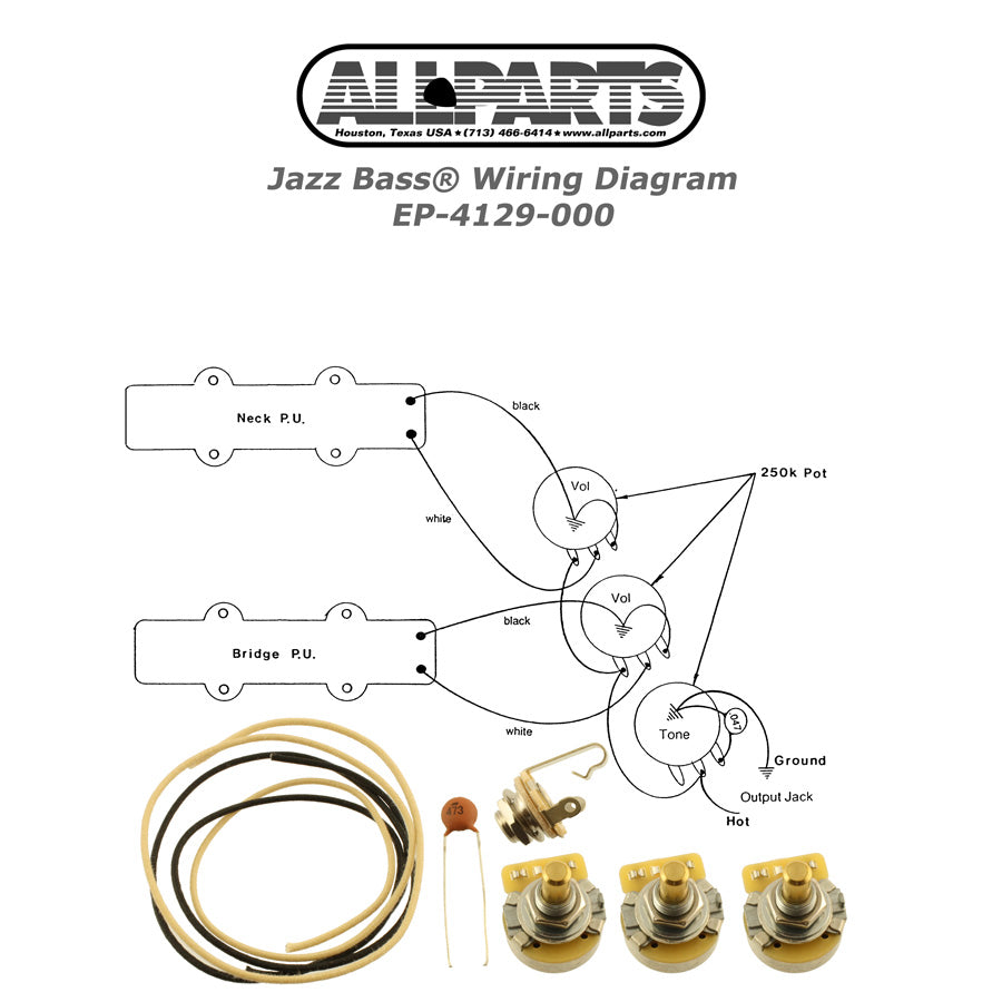 EP-4129 Wiring Kit for Jazz Bass
