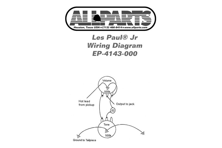EP-4143 Wiring Kit for Les Paul®, SG Jr.® — Allparts Music