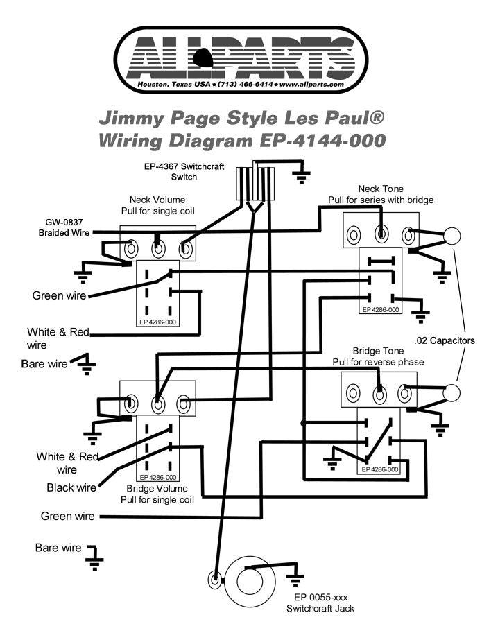 les paul toggle switch wiring diagram ep 4144 wiring kit for jimmy page les paul       allparts music  ep 4144 wiring kit for jimmy page les