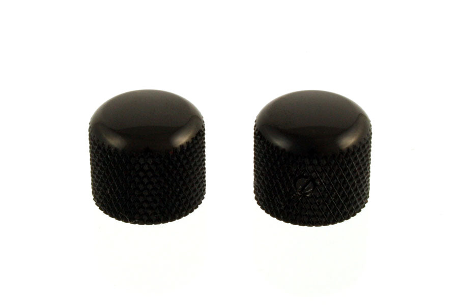 2 BLACK For USA Solid Shaft Pots NEW Dome Knobs