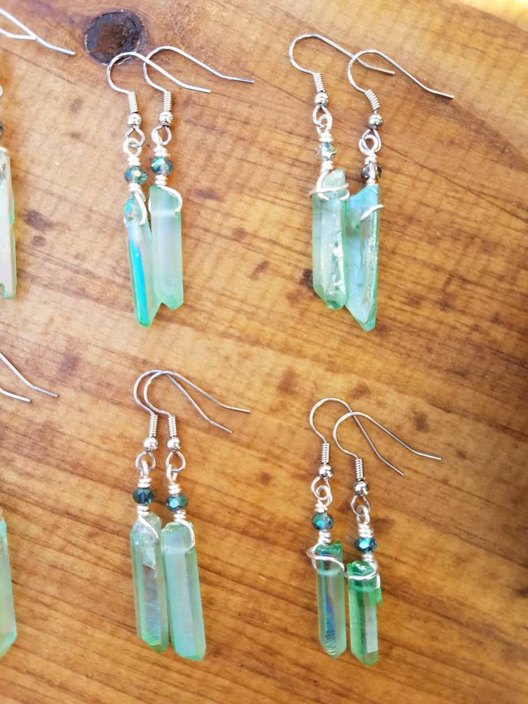 Sea Green Aura Quartz Earrings with Swarovski Crystals on stainless steel earring hooks