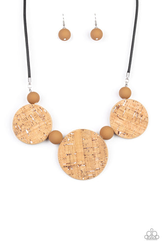 Pop The Cork - White Necklace - Paparazzi Accessories