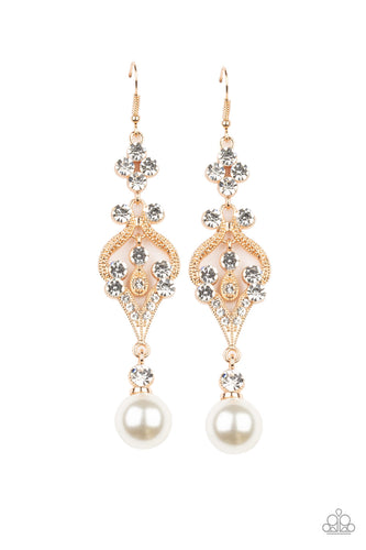 Elegantly Extravagant - Gold Earring - Paparazzi Accessories