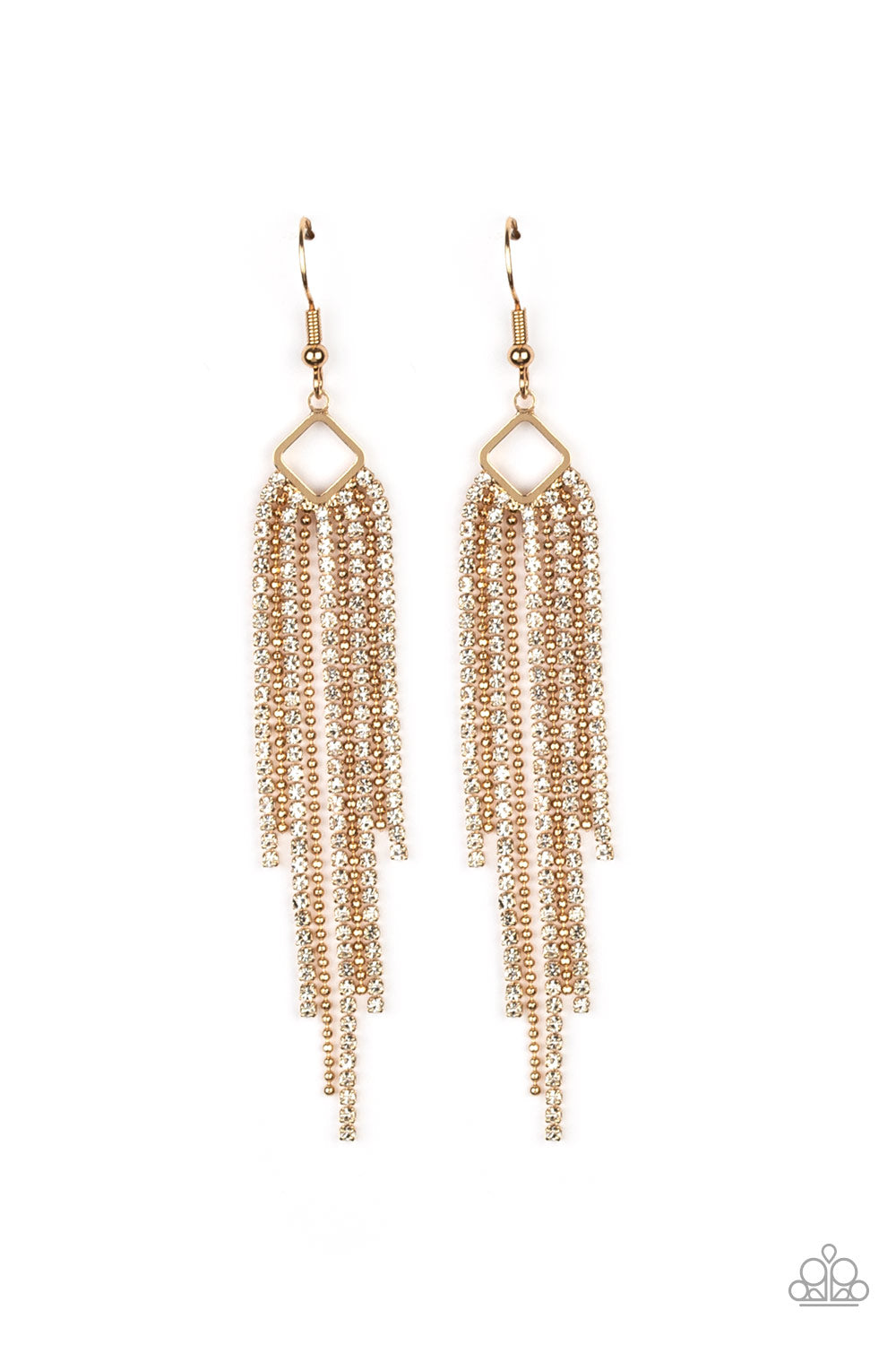 Singing in the REIGN - Gold Earring - Paparazzi Accessories