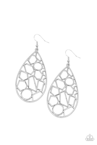 Reshaped Radiance - Silver Earring - Paparazzi Accessories