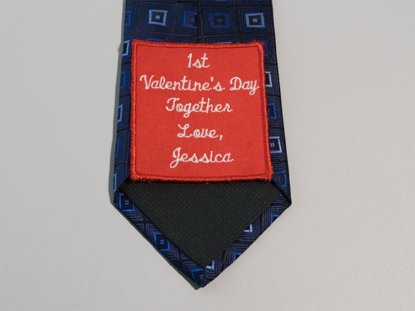 Romantic Valentines Day Gift for Him, Valentine's Day Gift for Husband, Custom Tie Label For Fiance, Boyfriend, Dad