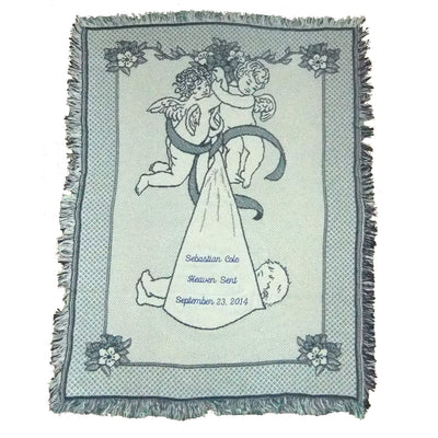 Angel Baby Blanket in Blue for New Baby Gift and Baptismal Gift