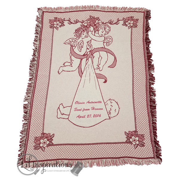 Personalized Angel Baby Blanket Gift in Pink