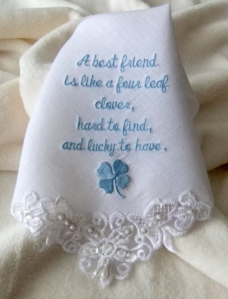 Personalized Wedding Handkerchief in White Linen