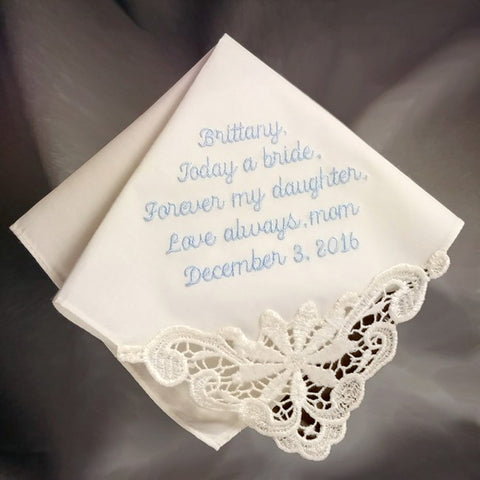 Ladies Embroidered Ivory Cotton Handkerchief