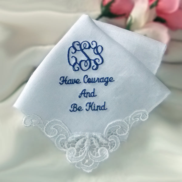 Womans Linen Handkerchief with Venice Lace