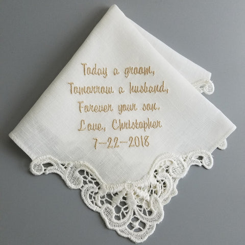 Embroidered Ivory Linen Handkerchief Venice Lace