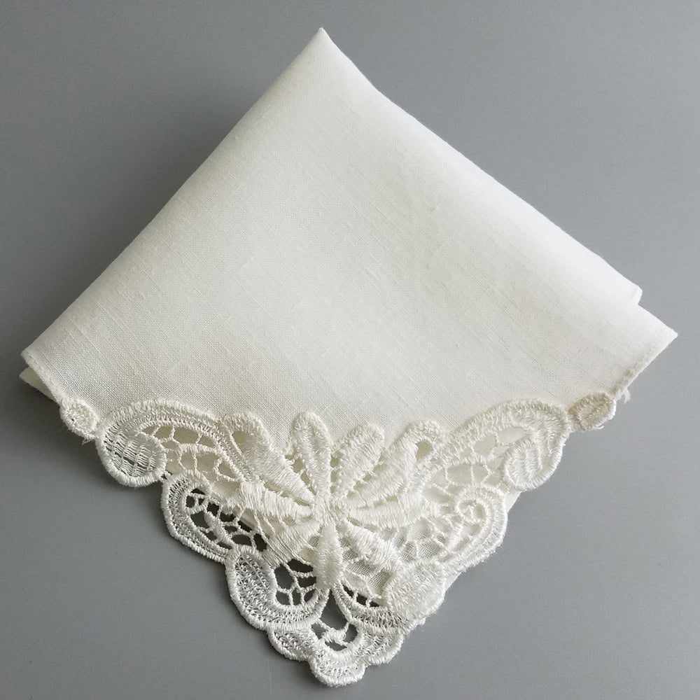 Ladies Embroidered Ivory Linen Handkerchief