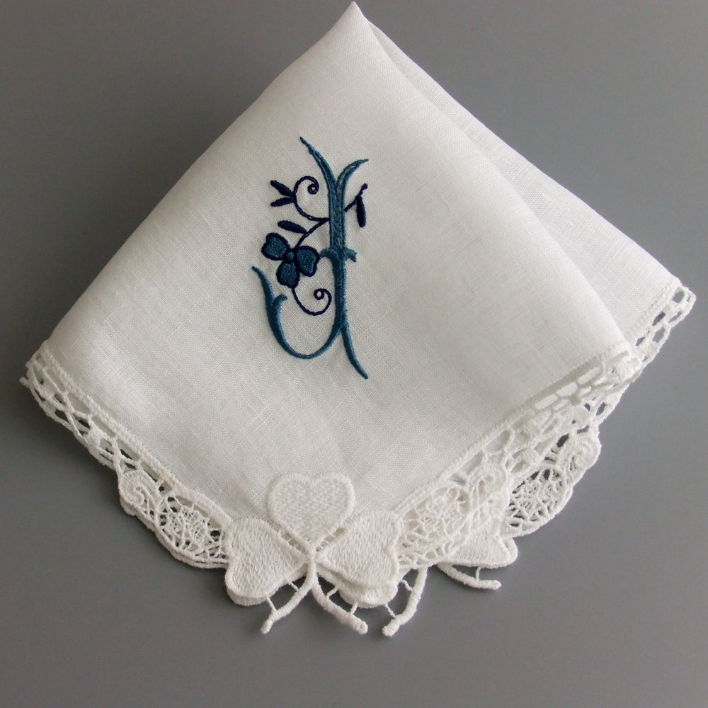 white linen lace ladies handkerchief irish lace