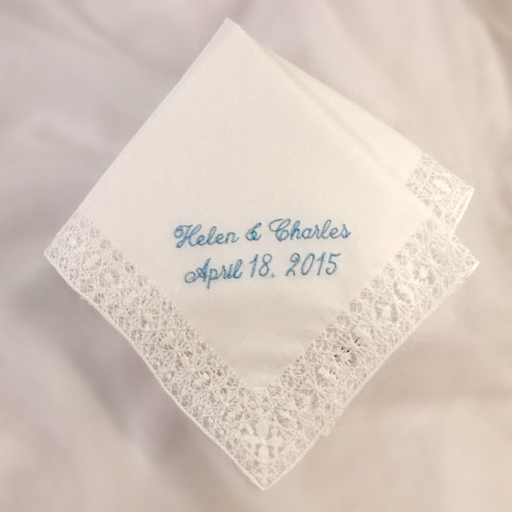 bride something blue wedding handkerchief