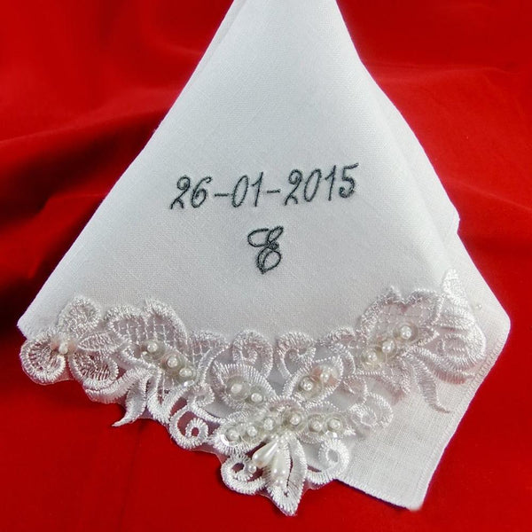 Personalized Couture Wedding Hankie in White Cotton