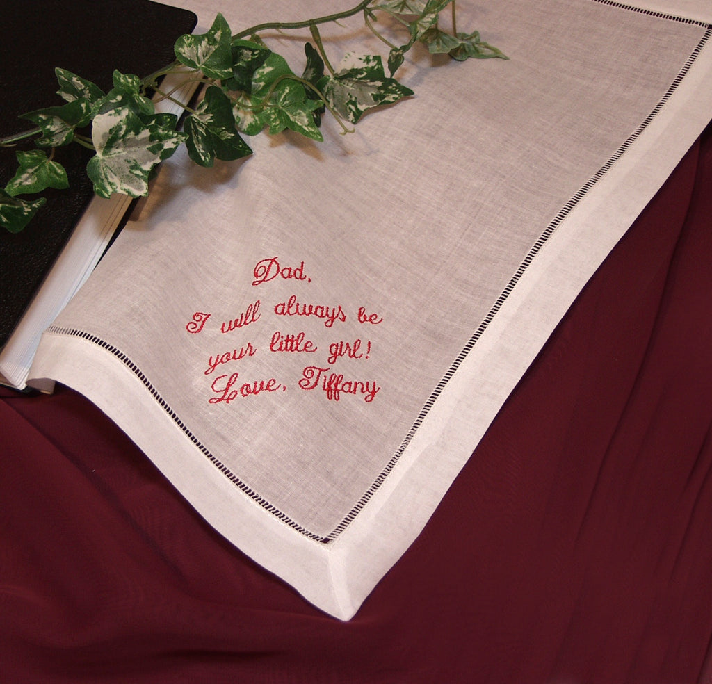 Personalized Mans Handkerchief Custom Embroidered