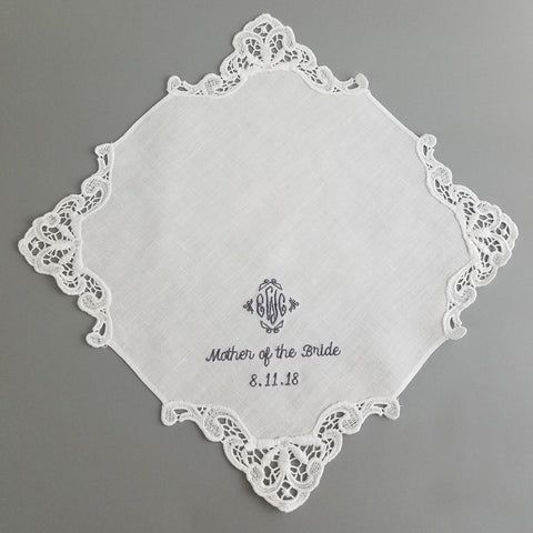Embroidered Linen Handkerchief Lace