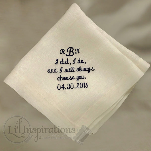 Ivory Linen Mans Personalized Handkerchief