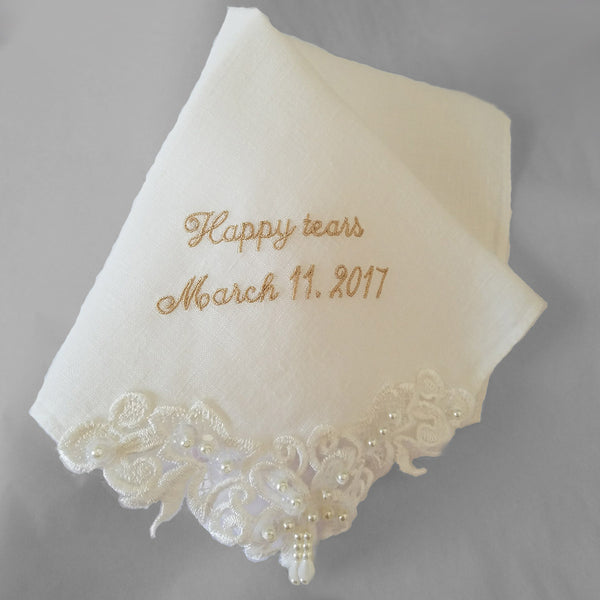 Monogrammed Couture Wedding Hankie in Ivory Cotton