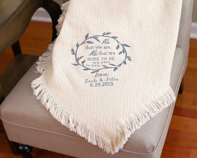 weddings gifts for parents from bride and groom - cotton wedding throw blanket