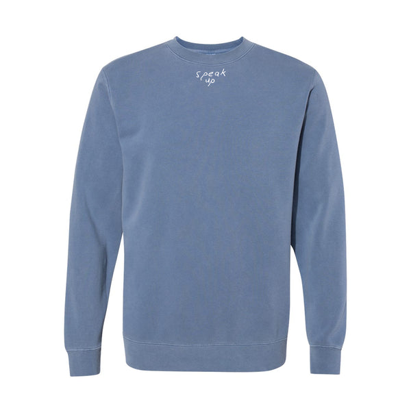 SPEAK UP EMBROIDERED BLUE CREWNECK