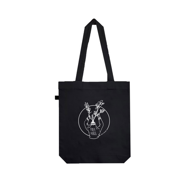 TATTOO FREE HUGS BLACK TOTE BAG