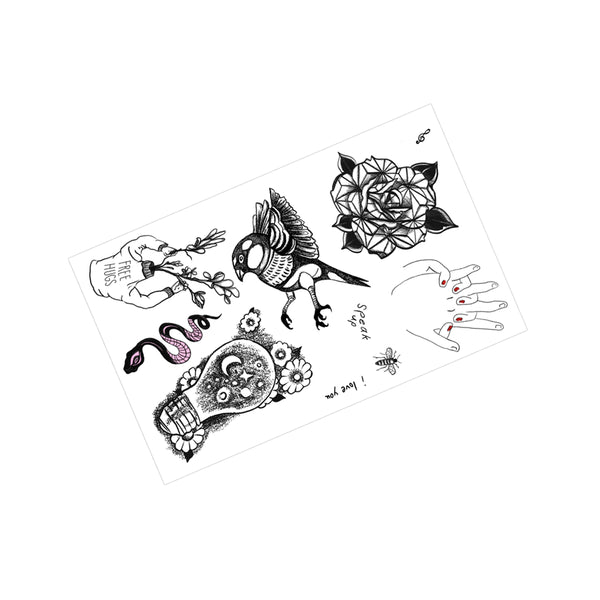 HOLDING HANDS TEMPORARY TATTOOS FLASH SHEET