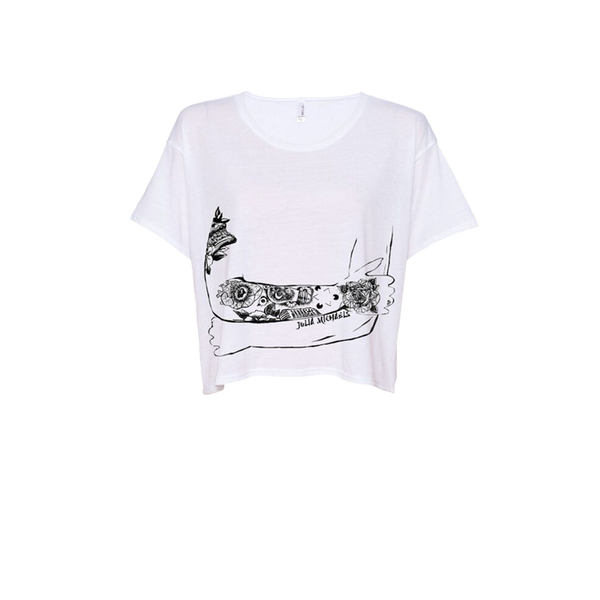 TATTOO ARMS WHITE CROP TEE